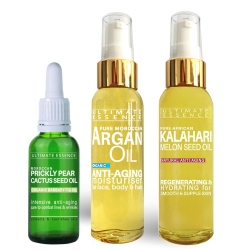 Christmas 3x Gifts - 1x65ml Argan Oil + 1x10ml Cactus Seed Oil + 1x65ml Kalahari Melon Seed Oil - Save 20%