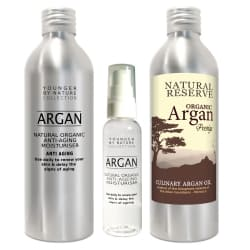 Pure Argan Oil 200ml / 7oz + Culinary Argan Oil - 200ml / 7oz + Refill Bottle