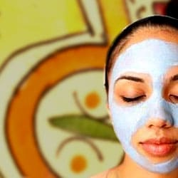 Girl in rhassoul clay mask